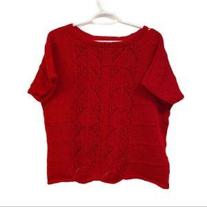 Vintage handmade red knit short sleeve sweater